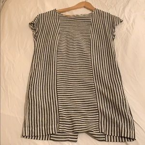 Madewell linen striped button mini dress